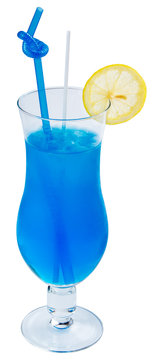 Blue Lagoon alcohol cocktail with lemon and ice in a tall glass. isolated on a white background