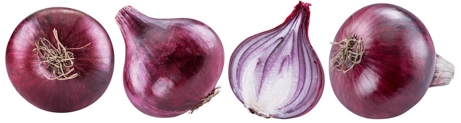 Red onion bulbs and cross section of onion. File contains clipping path for each item. Isolated on a white background.