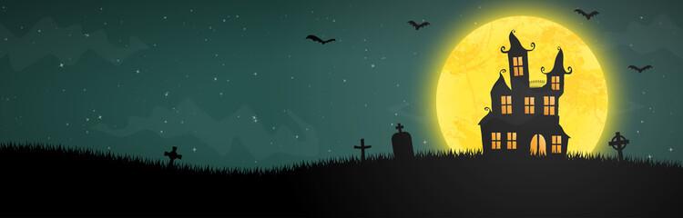 halloween castle in front of full moon