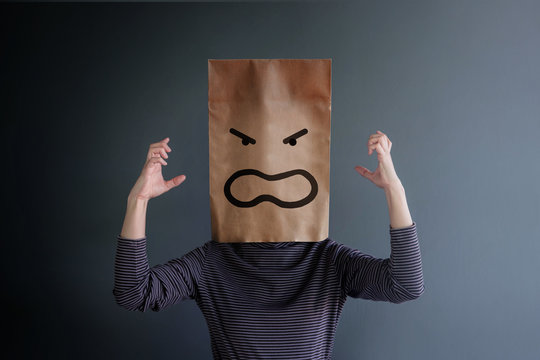 Customer Experience or Human Emotional Concept. Woman Covered her Face by Paper Bag and present Angry Feeling by Drawn Line Cartoon and Body Language