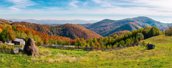 panorama of a beautiful rural countryside of Romania. lovely autumn landscape