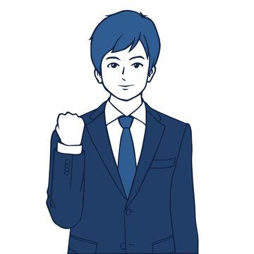 ガッツポーズをとるスーツを着た若手ビジネスマンのイラスト