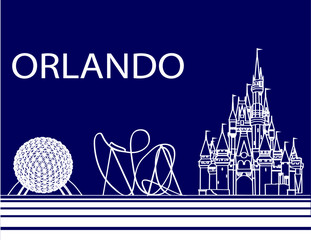 Orlando, Florida; September 21, 2018: Orlando colorful lettering on black backround .  Vector with travel icons and fireworks. Art Postcard.