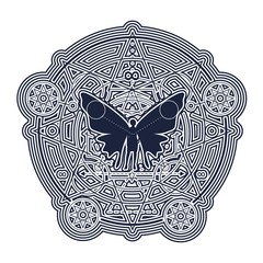 Mystery, witchcraft, occult and alchemy tattoo sign. Mystical vintage gothic geometry thin lines symbol with butterfly woman