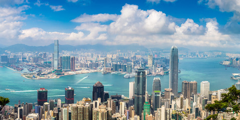 Aluminium Prints Asian Famous Place Panoramic view of Hong Kong