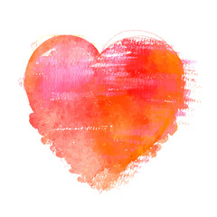 A vector watercolour drawing of a vibrant red heart on a red background