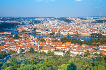 Wall Mural - Panoramic view of Prague and Vltava river in the summer, Czech Republic, Europe