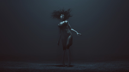 Pale Sexy Zombie with White Eyes Staggering in a Dress in a foggy void with a Bad Hair Day 3d Illustration 3d render