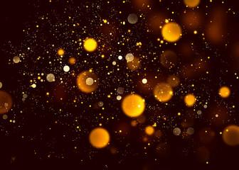 Halloween abstract bokeh orange glitter sparkle night background.