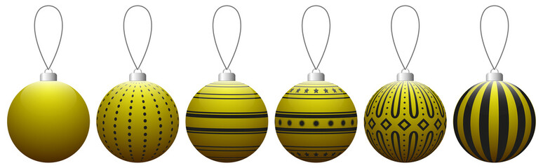 Collection of yellow glass Christmas balls with pattern hanging on a thread. Vector EPS 10