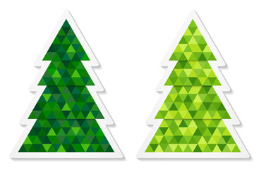 Set of abstract coniferous trees stickers consisting of triangles with two shades of green. Vector EPS 10