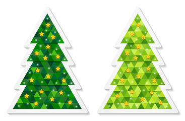 Set of abstract coniferous trees stickers consisting of triangles and decorated with stars. Two shades of green. Vector EPS 10