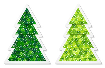 Set of abstract coniferous trees stickers consisting of triangles with snow. Two shades of green. Vector EPS 10