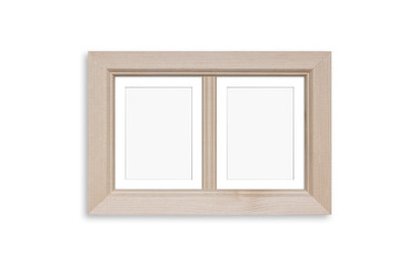 Wooden photo frame mock up for two pictures collage. Home, office or studio interior design decoration