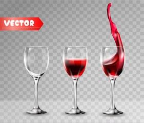Transparency wine glass. Empty and full. Red wine,splash. 3d realism, vector icon.