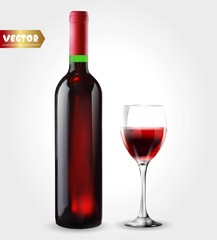 Bottle of wine and wineglass. Red splash. 3d realism, vector icon with transparency.