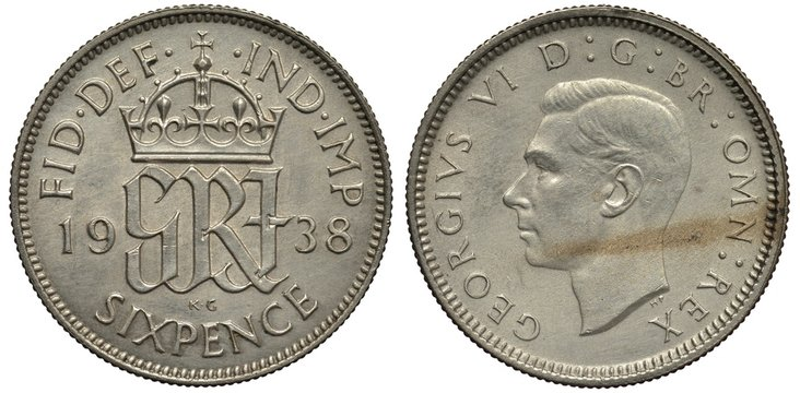 Great Britain British silver coin 6 six pence 1938, crowned monogram divides date, head of King George VI left,