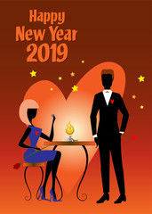 A woman in blue dress and white shoes, sitting at a table and holding a tulip, is talking to her boyfriend in black suit during the 2019 New Year party