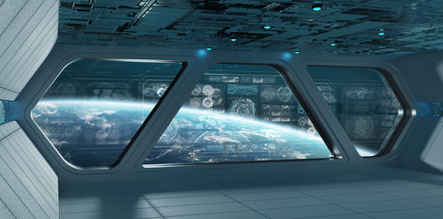Blue spaceship interior with control panel screens 3D rendering