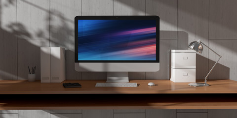 Computer and devices on modern wooden desk interior 3D rendering
