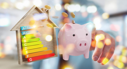 Businessman saving money with good energy chart rating 3D rendering