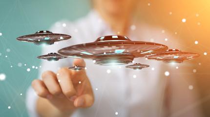 Businesswoman with retro UFO spaceship 3D rendering