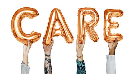 Hands showing care balloons word