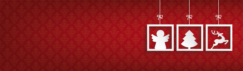 Red Ornaments 3 Frames Christmas Angel Header