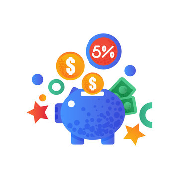 Shopping symbols, piggy bank and money signs, internet shopping, e-commerce concept