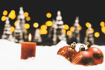 Christmas eve or night still life with bokeh lights