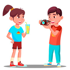 Little Boy Takes A Picture Of A Beautiful Girl Vector. Isolated Illustration