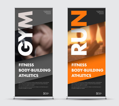 Template vector roll-up banner in geometric modern style with place for photo.
