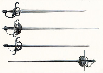 Rapiers illustration. Medieval weapons. Sword and saber illustration.