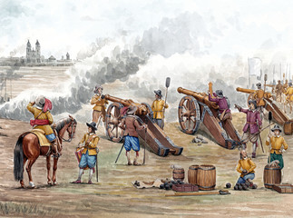 Cannons bombard the fortress Magdeburg. Thirty years war. Military illustration.