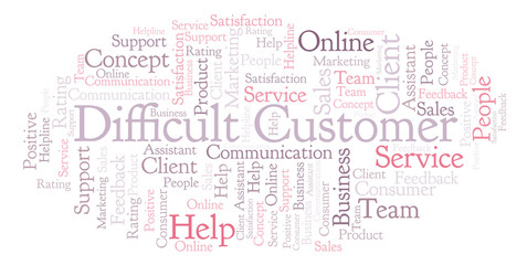 Difficult Customer word cloud.