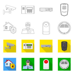 Vector illustration of office and house icon. Set of office and system vector icon for stock.