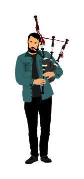Bagpiper vector on white background. Street perform. Music performer play on traditional instrument. Bagpipe, pipes vector.