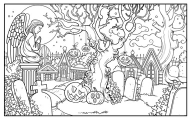 Halloween background cemetery and crypts with statue of an angel in prayer outlined for coloring page