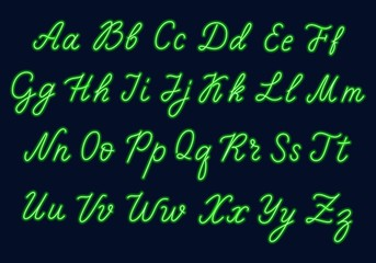 Green neon script. Uppercase and lowercase letters.