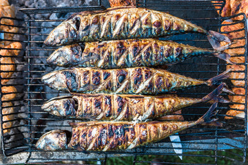 Fish baked on the grill in the grate.