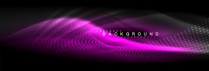 Liquid neon flowing waves, glowing light lines background