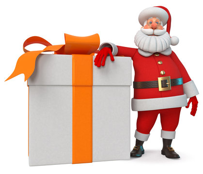 3d illustration Cheerful  Santa Claus with gift/3d illustration New Year's congratulation from Santa Claus