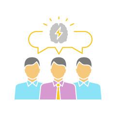 Team brainstorming glyph color icon