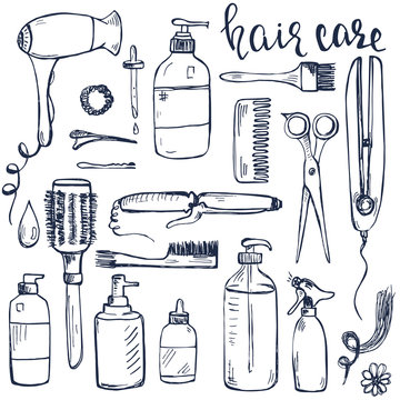 Set of hand drawn hair styling and care products