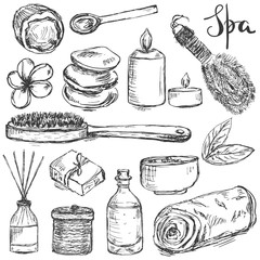 Set of hand drawn spa and beauty related products