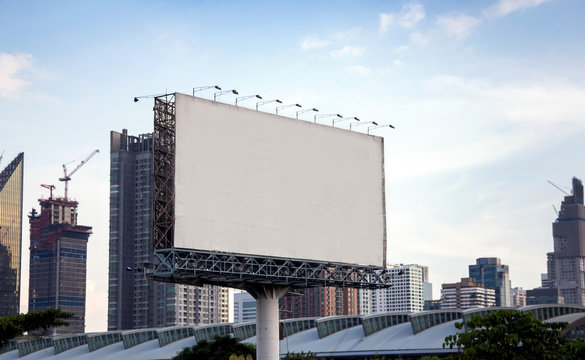 blank big billboard on highway in city town