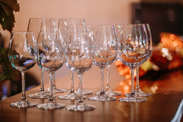 beautiful sparkling clean empty wine glasses