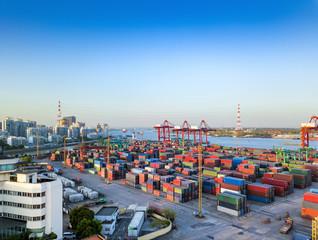 aerial view of dock in shanghai