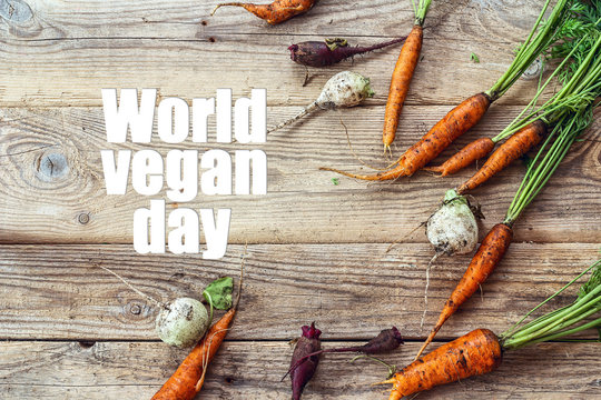 World vegan day background with dirty carrots, beets and turnips on wooden table.
