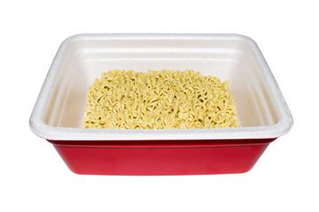 Instant noodles on white background.Instant egg noodles.Chips food pasta.